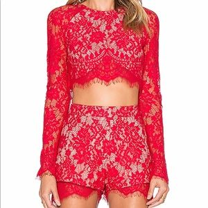 The jet set diaries red lace shorts
